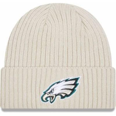 ニューエラ メンズ 帽子 アクセサリー New Era Men's Philadelphia Eagles Core Cuffed Knit White Beanie -