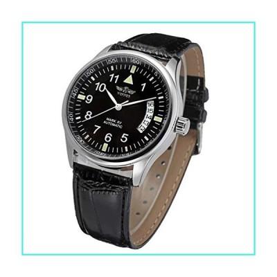 【新品】VIGOROSO Men's Sport Day Date Black Leather Automatic Self Winding Watch(並行輸入品)