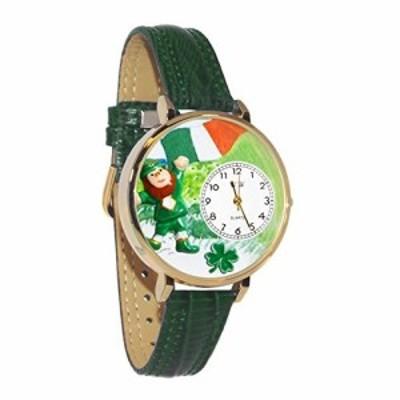 セント・パトリック アイルランドの国旗 緑レザー ゴールドフレーム時計 #G1224001