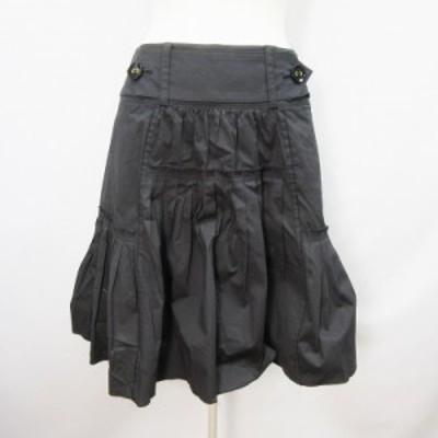 【中古】クリスタルフラップ CRYSTAL FLAP スカート 膝丈 フレア 綿 コットン ストレッチ 36(S相当) 黒 ブラック系
