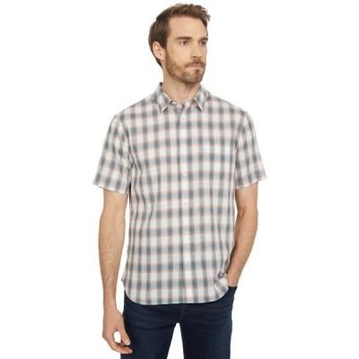 ヴィンス シャツ トップス メンズ Multi Shadow Plaid Short Sleeve Off-White/Palisades Blue