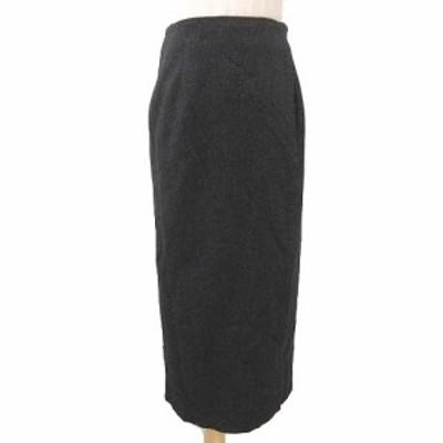 【中古】マックスマーラ 白タグ 美品 ラップ スカート ロング ウール 巻きスカート 42 約Lサイズ 黒 レディース