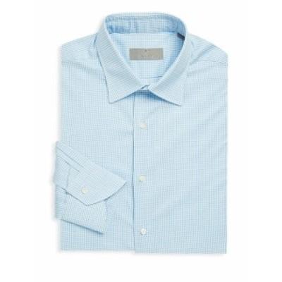 カナリ メンズ ドレスシャツ ワイシャツ Gingham Cotton Dress Shirt