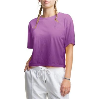 チャンピオン Champion レディース ベアトップ・チューブトップ・クロップド Tシャツ トップス Ombre The Cropped T-Shirt Genuine Purple Ombre