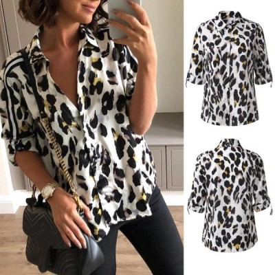 レディース 衣類 トップス Starmoon Womens Casual Leopard Printed Button Up Long Sleeve Loose Shirt Top Blouse ブラウス&シャツ