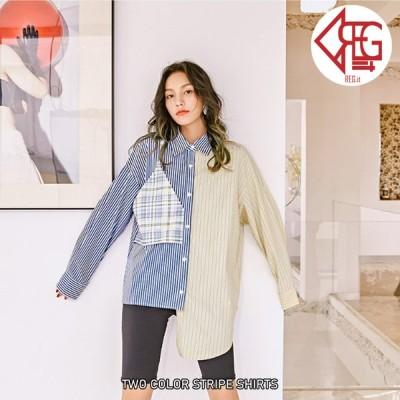 【REGIT】バイカラーストライプ ロングシャツ 韓国ファッション 10代20代 ユニーク シャツ ブラウス 個性的 アシンメトリー プチプラ