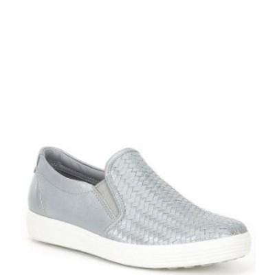 エコー レディース スニーカー シューズ Soft 7 Woven Leather Slip On II Sneakers Silver Grey Metallic