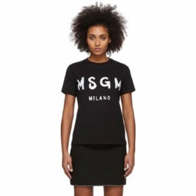 エムエスジーエム MSGM レディース Tシャツ トップス Black Artist Logo T-Shirt Black