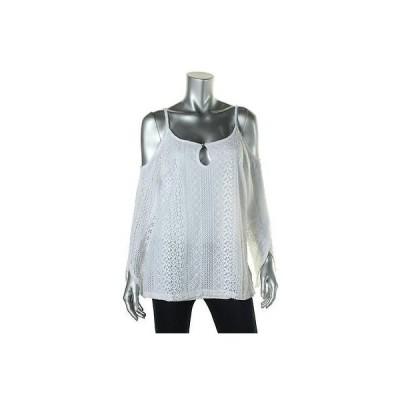 トップス&ブラウス INC INC 5020 レディース ホワイト Lace Cold Shoulder Keyhole Peasant Top Shirt XL BHFO