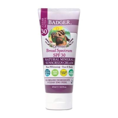 バジャー クリアアクティブナチュラルミネラル日焼け止め SPF30 ラベンダー 87ml Badger ClearActive NaturalMineral SunscreenCream SPF30 Lavender 2.9fl oz