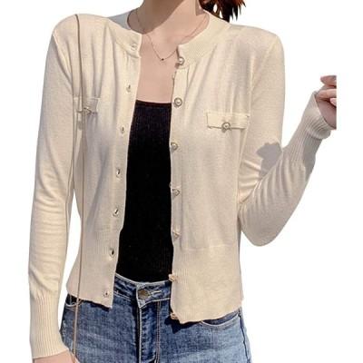 [アイカ] パール風ボタン ショート丈 ニット カーディガン ノーカラー 長袖 薄手 レディース 1サイズ(ML) アイボリー