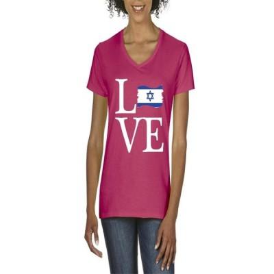 レディース 衣類 トップス Womens Israel Flag V-Neck T-Shirt グラフィックティー