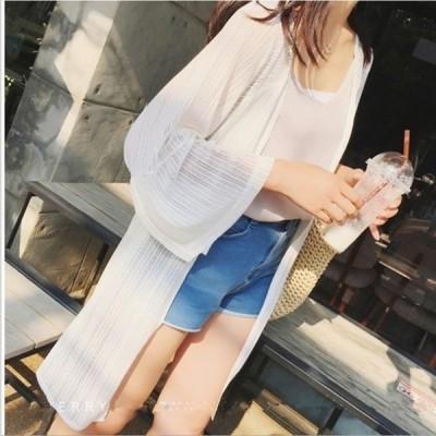 ロングカーディガン長袖シースルー薄手UV対策冷房対策紫外線シンプル体型カバーレディース春夏GoodClothes