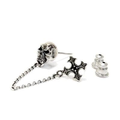 スカル(髑髏) クロスフローリー(百合の花の十字紋章) あずきチェーン連結 ブラックジルコニア装飾 メンズ シル