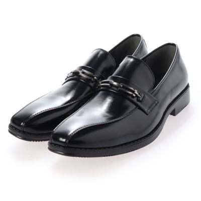 ジーノ Zeeno ビジネスシューズ メンズ 幅広 3EEE 防滑 ビットローファー スワールモカ 紳士靴 大きいサイズ対応 キングサイズ (ブラック)