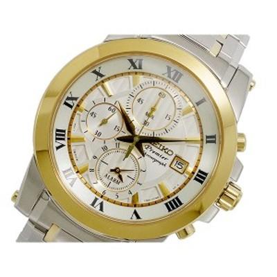 セイコー メンズ 腕時計/SEIKO プルミエ Premier クロノグラフ 腕時計 ホワイト/シルバー&ゴールド 送料無料/込 クリスマスプレゼント