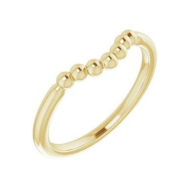 【新品】14k Yellow Gold Beaded Contour Stackable Ring, Size 7