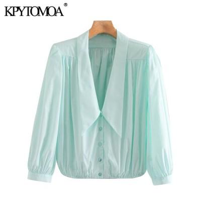 女性 2020 エレガントなファッションオフィス着用ブラウスヴィンテージ V ネック長袖女性シャツ Blusas トップス