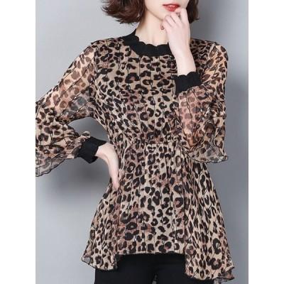 【送料無料】ヒョウ柄 ファッション 合わせやすい ルーズ 着やすい ラウンドネック ブラウス