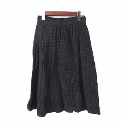 【中古】マカフィー MACPHEE トゥモローランド スカート 34 XS 紺 ネイビー コットン フレア シンプル レディース