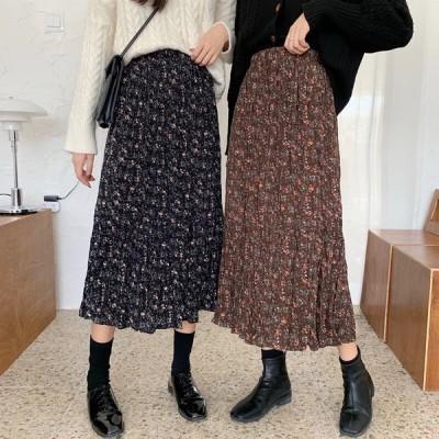 花柄 レトロ スカート 2色