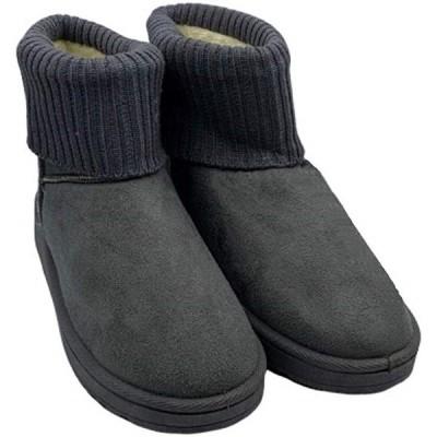 レディース ムートンブーツ ショート ニット ボア ニットブーツ 裏起毛 リブニット 軽量 防寒 23.5(グレー, 23.5 cm)