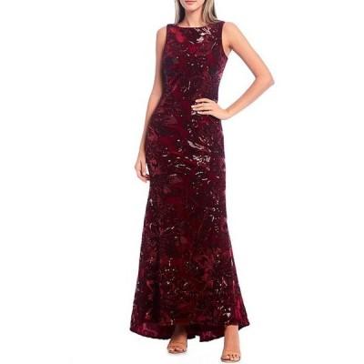 エリザジェイ レディース ワンピース トップス Sleeveless Floral Embroidered Velvet Mermaid Gown