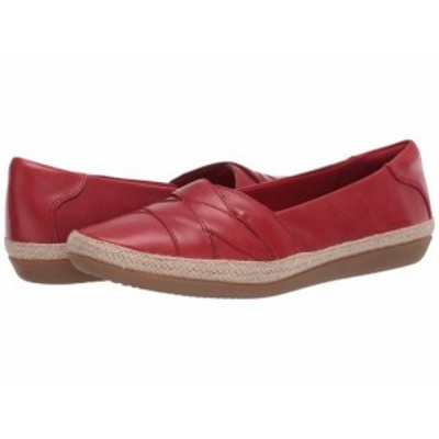 Clarks クラークス レディース 女性用 シューズ 靴 フラット Danelly Shine Red Leather【送料無料】