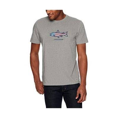 Life is Good Men's Crusher Graphic T-Shirt, Flag Fish, Heather Gray, X-Larg