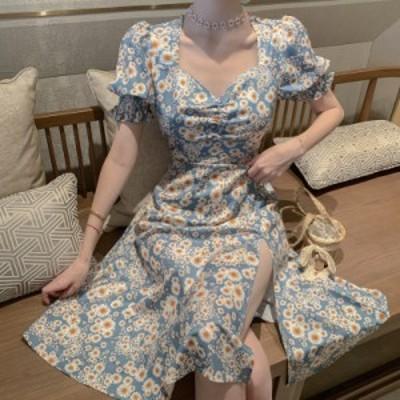 2020SS レディース ワンピース 花柄 デイジー ミモレ丈 水色 オルチャン 韓国ファッション プチプラ TA08062