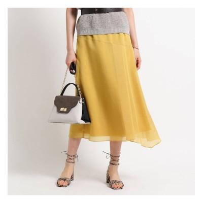 【インディヴィ/INDIVI】 【マシンウォッシュ】ポリエステル切り替えタックフレアスカート