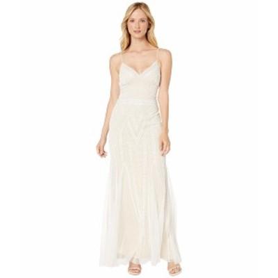 マリーナ レディース ワンピース トップス Spaghetti Strap Beaded Gown Ivory/Nude