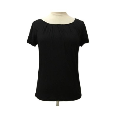 【中古】23区 オンワード樫山 Tシャツ カットソー ラウンドネック 無地 半袖 38 黒 ブラック レディース 【ベクトル 古着】