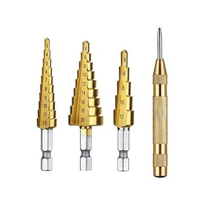 新品・未使用・海外で人気Volterin 4Pcs Step Drill Bit Set Titanium Coated With Automatic Spring Load[並行輸入品51]