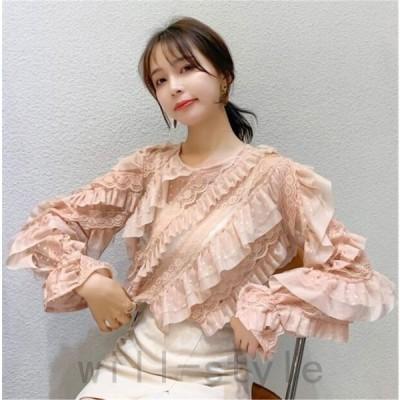 フリルレースブラウスシフォン刺繍花柄長袖韓国オルチャンストリートきれいめかわいい原宿系ドットトップス