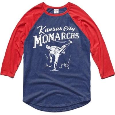 チャーリー ハッスル Charlie Hustle メンズ 長袖Tシャツ ラグラン トップス Kansas City Monarchs Navy Museum Raglan 3/4 Sleeve T-Shirt