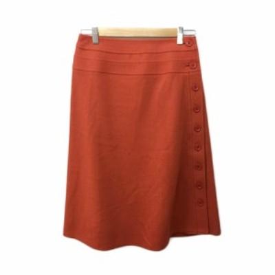 【中古】ソニア ソニアリキエル スカート ラップスカート 台形 ひざ下 ハイウエスト 無地 ウール 40 オレンジ