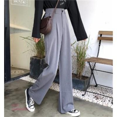 ワイド  オルチャン 韓国 ストリート ゴム オフィス スラックス きれいめ 無地 ボトムス パンツ ダンス  衣装 楽ちん