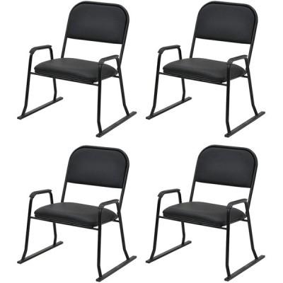 エイ・アイ・エス (AIS) 座椅子 ブラック 57×53×67cm 楽座椅子 ハイタイプ 4脚入