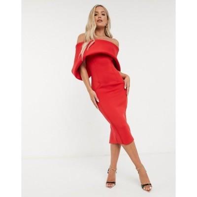 エイソス レディース ワンピース トップス ASOS DESIGN fold-front bardot midi pencil dress in hot red Hot red