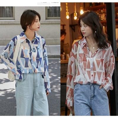 全2色 長袖シャツ 日焼け止め 切り替え バイカラー 体型カバー 着痩せ シフォン シンプル