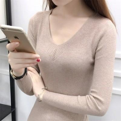 無地Vネックニットトップス 秋冬 通勤 通学 暖かい 韓国ファッション