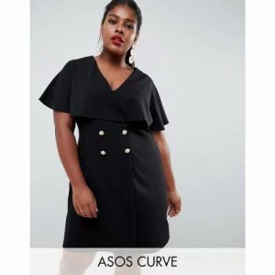 エイソス ワンピース ASOS DESIGN Curve mini swing dress with button detail Black
