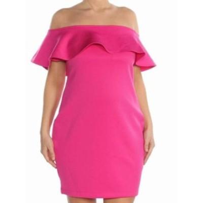 GUESS ゲス ファッション ドレス Guess NEW Pink Women Size Large L Scuba Ruffle Off Shoulder Sheath Dress
