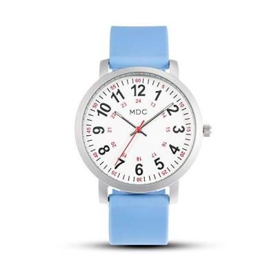 MDC ナースウォッチ 医療学生 医師 看護師用 秒針 12/24時間表示 防水 シリコンバンド ブルー