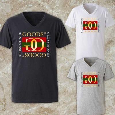 メンズ Tシャツ レディース Vネック 半袖 パロディ ブランド ロゴT