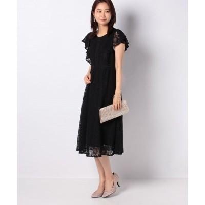 【エイミーパール バイ パウダーシュガー】コードレースフリル半袖ドレス
