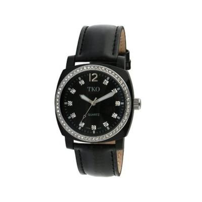 海外取寄品--TKO ORLOGI Women 's tk610-bk Milano Iceレザークリスタルベゼル腕時計