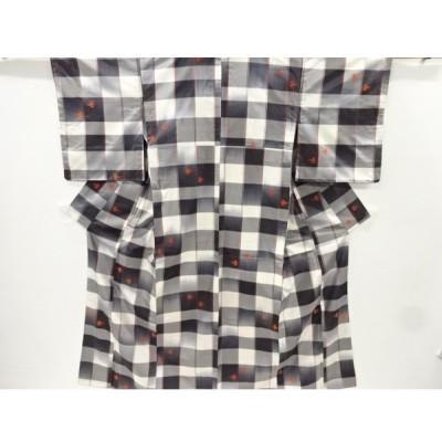 宗sou 格子に燕絣模様織り出し米沢紬着物【リサイクル】【着】