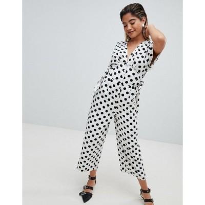 エイソス レディース ワンピース トップス ASOS DESIGN polka dot  print tea jumpsuit in linen look with side tie detail Ground spot
